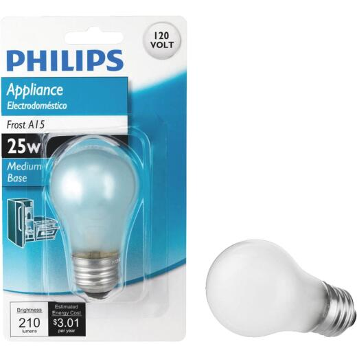 Philips 25W Frost Medium A15 Incandescent Appliance Light Bulb