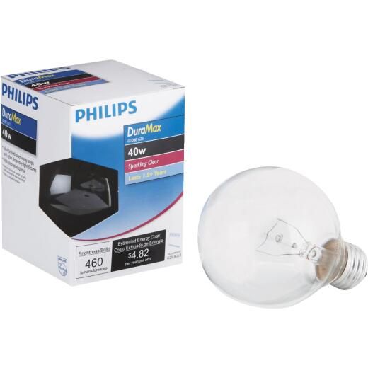 Philips DuraMax 40W Clear Medium G25 Incandescent Globe Light Bulb