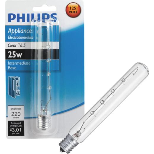 Philips 25W Clear Intermediate T6.5 Incandescent Appliance Light Bulb