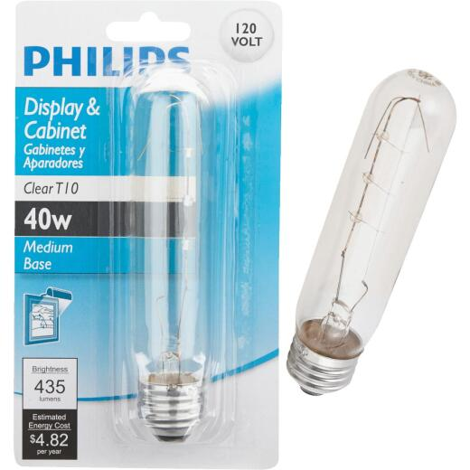 Philips 40W Clear Medium Tubular T10 Incandescent Display Light Bulb