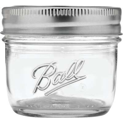 Ball 4 Oz. Regular Mouth Smooth-Sided Silver Lid Canning Jar (12-Count)